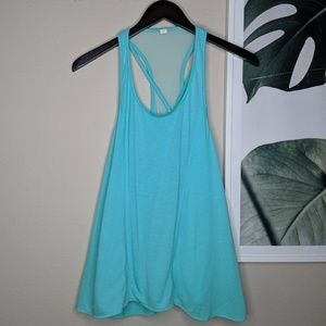 Alo Yoga Teal Sheer Strappy Racerback Tank Top